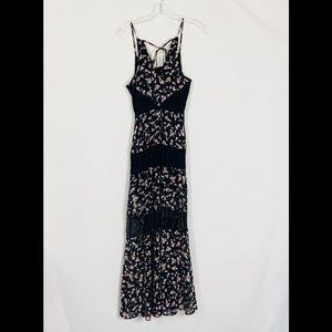 Candie's Floral Print w/Lace Maxi Dress Back Tie